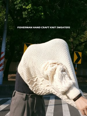 已售出 FISHERMAN HAND KNIT SWEATERS 素面 L米白偏黃 毛衣 羊毛 漁夫