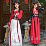 漢服 中國風 民族風 連身裙 長裙漢服女 古裝仙女對襟齊胸襦裙 民族唐裝古箏演出服襦裙套裝