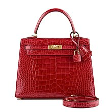 Hermes Kelly 25 Sellier cc95 Crocodile Alligator Shiny