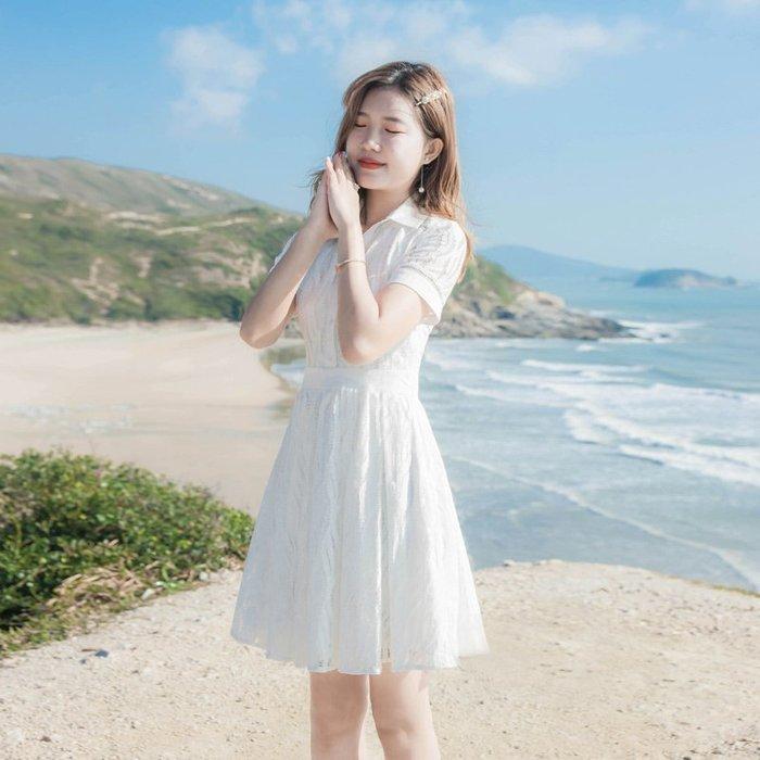 ~Linda~2019夏季新款女裝氣質修身顯瘦短袖白色蕾絲襯衫領A字連衣裙裙子