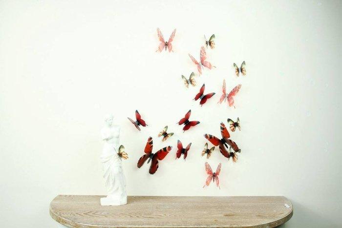 ☆║♥愷心小舖♥║☆歐美進口~~創意立體 3D 浪漫 蝴蝶  化妝室 臥房  婚佈背景牆壁 ~超值18隻一套!棕色款~