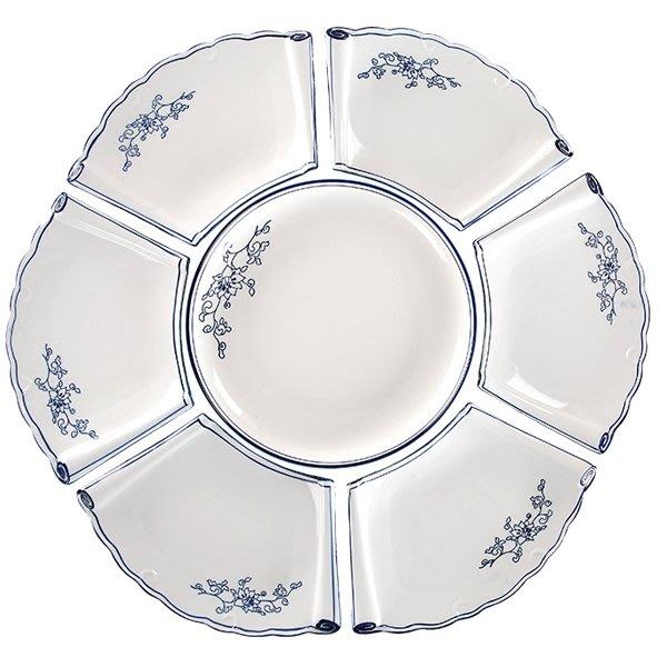 5Cgo【茗道】年夜飯盤子陶瓷組合拼盤酒店家宴聚會餐具套裝家用扇形盤菜盤蘭花拼盤7個一組12吋 569409221622