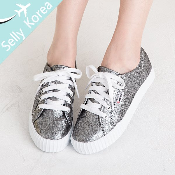 正韓 綁帶 閃布白底 休閒鞋-Selly-沙粒-(KR224)2色