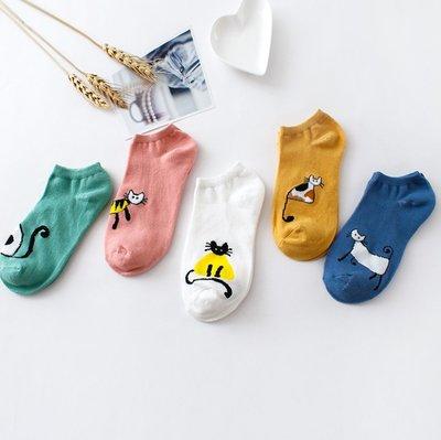 韓版棉襪女船襪短筒襪 學生襪 可愛休閑卡通時尚 防滑吸汗 女生