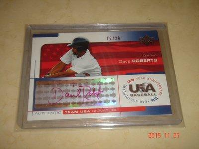 美國職棒 Dodgers Manager Dave Roberts 2004 UD Team USA 簽名卡 球員卡