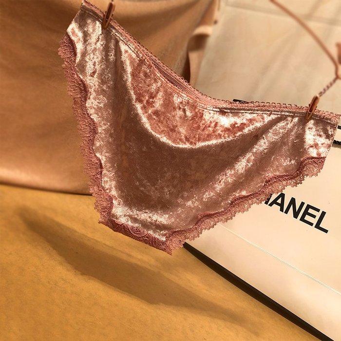 買三送一 歐美秋冬舒適透氣絨面性感蕾絲女士內褲低腰無痕三角內褲女純棉襠