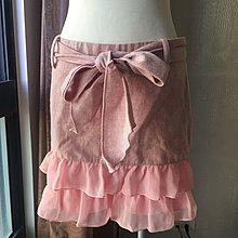 《寶兒花園》粉色毛料綁帶蝴蝶結雪紡荷葉邊下擺淑女風迷你裙短裙