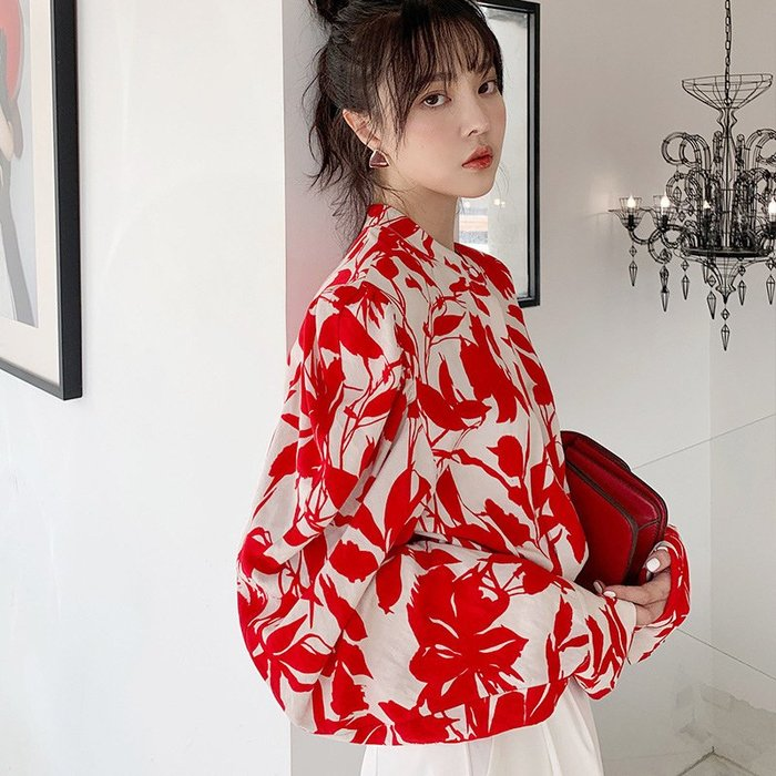 *o-ha-you*2019秋季新款高存在感大紅花印花設計感寬鬆泡泡袖上衣襯衫-LK