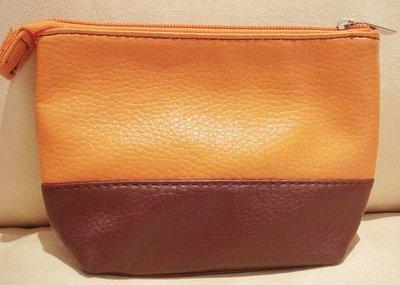全新 【CLARINS 克蘭詩】橘色咖啡色高雅隨身包收納包化妝包 2-1,低價起標無底價!本商品免運費!