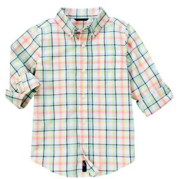 *DORA BABY*  Gymboree 全新正貨 6~12M男寶寶長袖格紋超帥襯衫 (粉紅+綠)~【現貨】