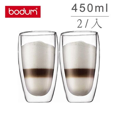 丹麥 Bodum PAVINA 2入 450ml /15oz 雙層 隔熱 玻璃杯 咖啡杯   原廠盒裝