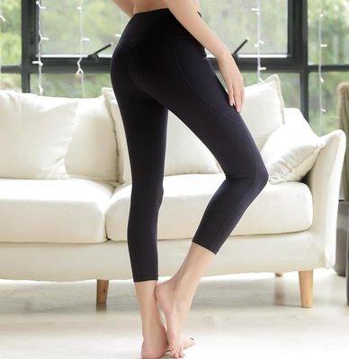 裸感面料瑜伽褲跑步健身褲女壓縮提臀彈力運動緊身褲速干七分褲7