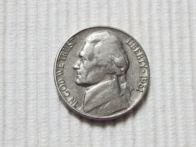 早期1961年 美元FIVE CENTS 5分硬幣 傑佛遜肖像D版 1枚