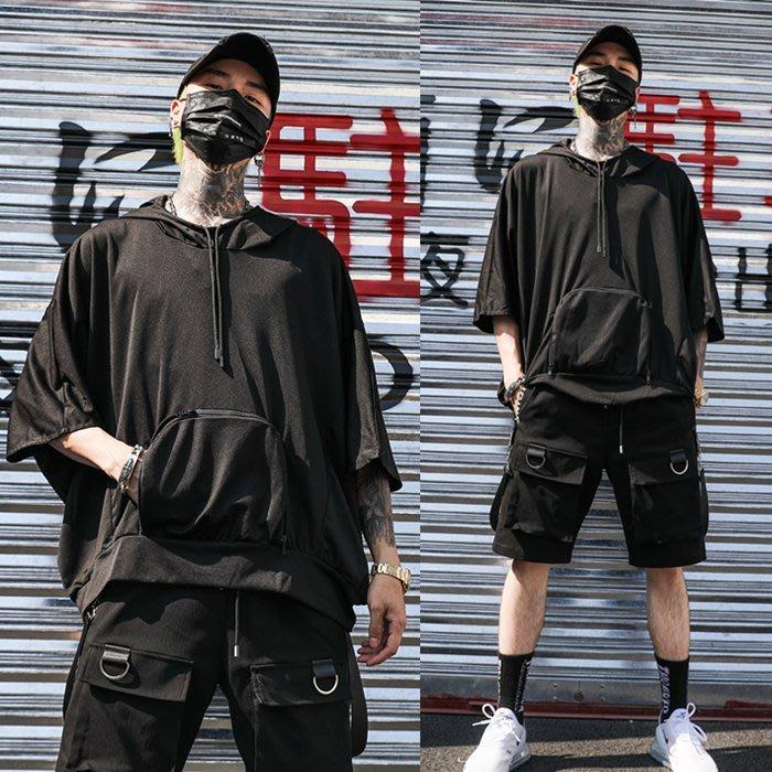 『潮范』 S6 新款潮男連帽T恤 蝙蝠袖T恤 復古國潮七分袖T恤 數字文字圖案T恤NRG1104