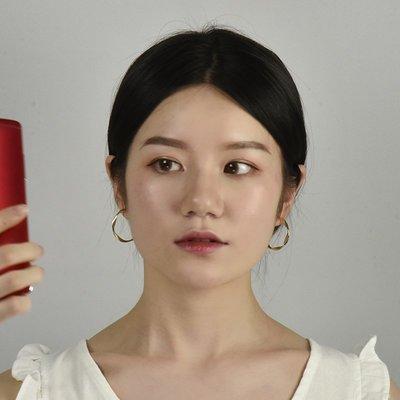 Lissom韓國代購~e 家懶人小眾金色個性幾何925銀針耳釘簡約氣質冷淡風耳環耳飾女