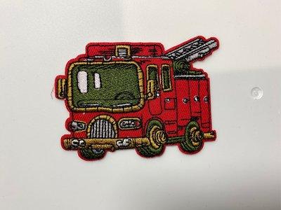 消防車刺繡燙貼布