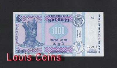 【Louis Coins】B469-MOLDOVA-1992摩爾多瓦紙幣,1.000 Lei