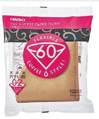晴天咖啡☼ VCF-02-100M無漂白濾紙1-4杯用100入 日本HARIO V60圓錐濾杯V02 濾紙手沖咖啡