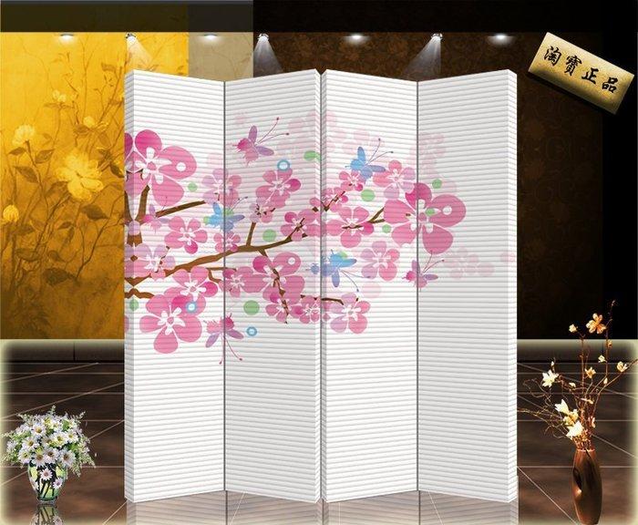 中式時尚 屏風隔斷玄關 辦公餐廳 家具家居客廳粉色花卉【單扇防水】