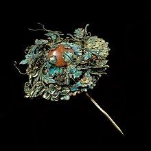『保真』老玉市場-明清件老點翠老瑪瑙老銀銅鎏金髮簪