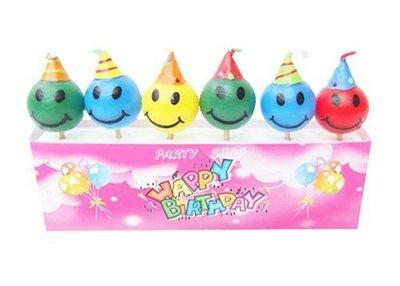 Q37【派對樂】生日派對 生日造型蠟燭 派對舞會道具_彩色球型笑臉蠟燭
