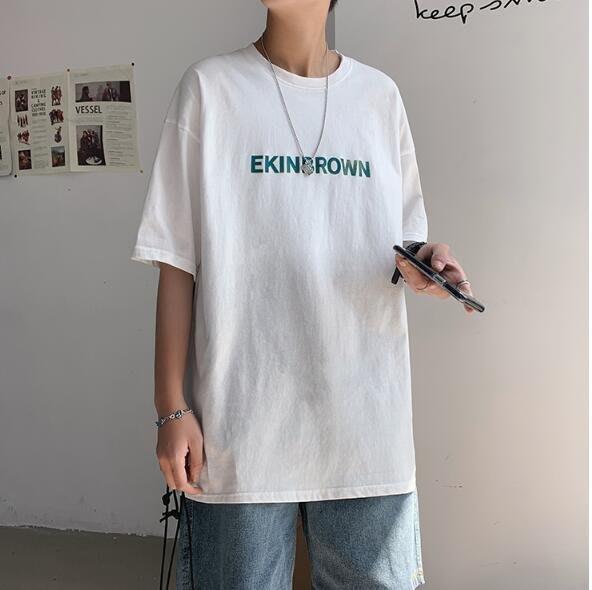FINDSENSE X 男款 時尚 寬鬆舒適 男裝寬  中性 休閑 情侶大碼 字母短袖T恤男