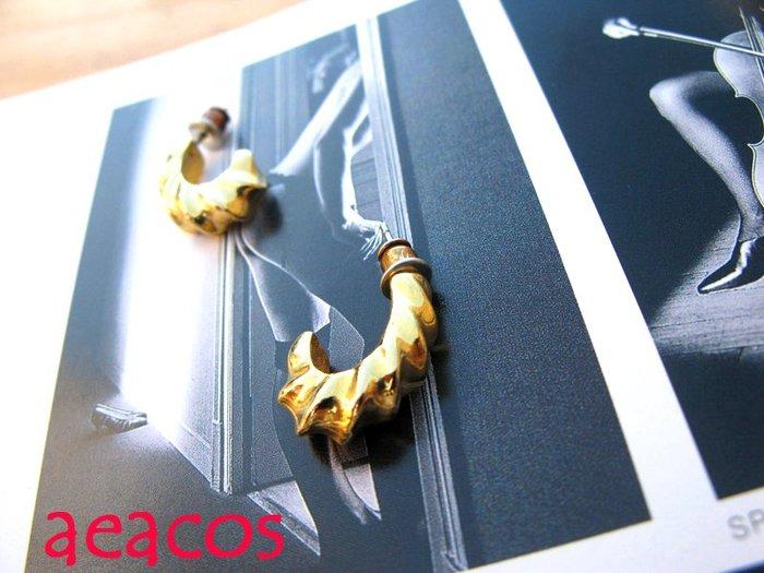 AEACOS@古董 古著 vintage retro MODs 摩登 前衛 旋轉線條 金色 勾形 針式耳環