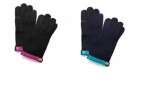 【天普小棧】Coach F 82823 Knit Turnlock Glove羊毛手套真皮飾邊XS/S號現貨抵臺