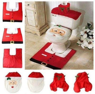 現貨實拍圖聖誕老人馬桶套 聖誕老公公馬桶蓋+腳墊+水箱蓋+紙巾套 三入組