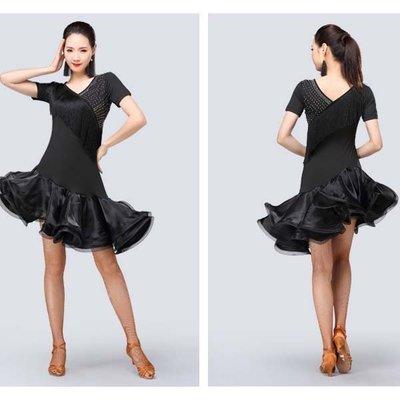 春季新款拉丁舞服裝套裝成人女拉丁舞裙流蘇短袖連衣裙演出服