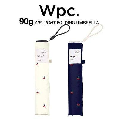 Ariel Wish-日本WPC百貨晴雨兩用折傘短傘雨傘陽傘防曬遮陽深藍色米色櫻桃款超推薦-超輕量90g-兩款現貨各一
