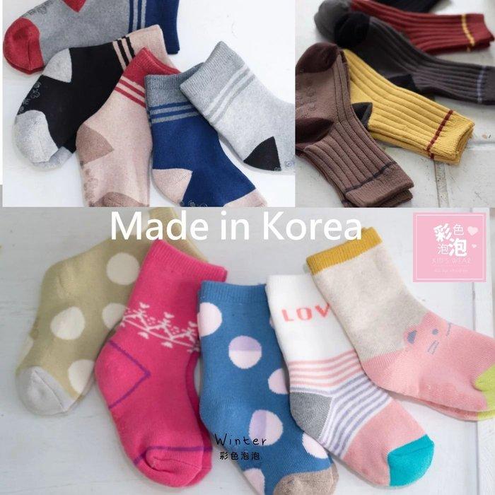 ○。° 彩色泡泡 °。○ 童裝【貨號W9384】冬。韓國製冬季款厚款短襪(5雙ㄧ組)