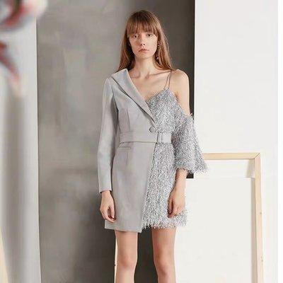 [ ohya梨花 ]=韓國帶回=最新春夏新款名媛甜美穿搭灰色流蘇拼接造型連身裙小洋裝