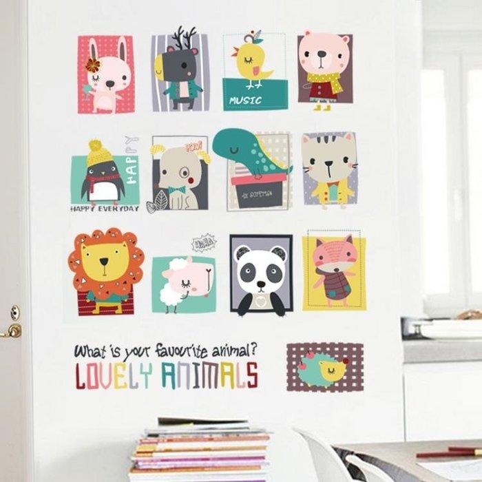 照片墻動物照片墻溫馨兒童房臥室裝飾品墻貼紙幼兒園背景墻卡通頭像貼畫xw
