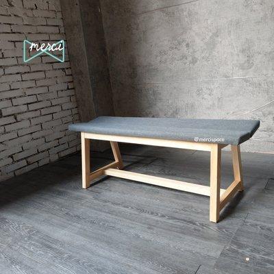 美希工坊 VICTOR bench 勝利凳/實木長凳/可訂製/可訂色原木椅架亞麻灰布/坐感佳/#梣木椅架