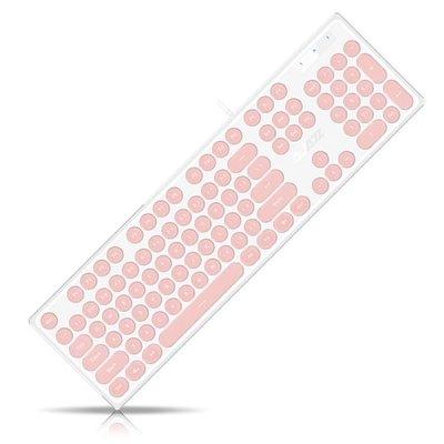 靜音鍵盤台式電腦筆記本辦公無聲巧克力圓復古朋克女生櫻花粉