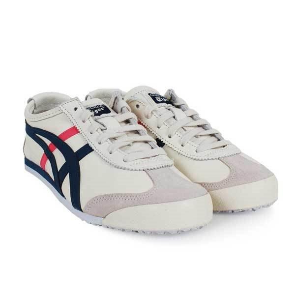 Onitsuka Tiger 藍粉條 白皮革 復古休閒鞋 女款 1182A078103 -SPEEDKOBE-
