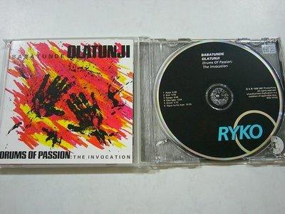 舊CD音樂專輯-BABATUNDE OLATUNJI DRUMS OF PASSION-THE INVOCATION(保存良好無刮傷近全新)