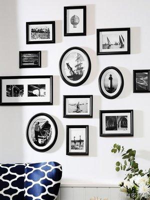 好物多商城 相框掛墻組合連體掛免打孔臥室裝飾創意木質像框架相片帶打印照片