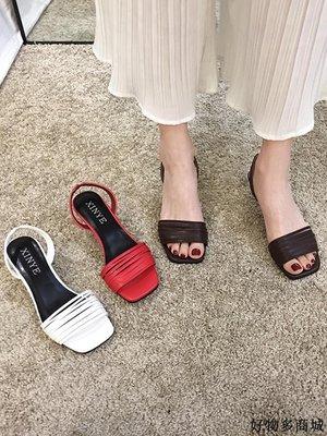 涼鞋 跟鞋 一字帶涼鞋 羅馬鞋 涼鞋女仙女風新款春季韓版百搭露趾方頭細跟羅馬高跟鞋潮新品優選免運