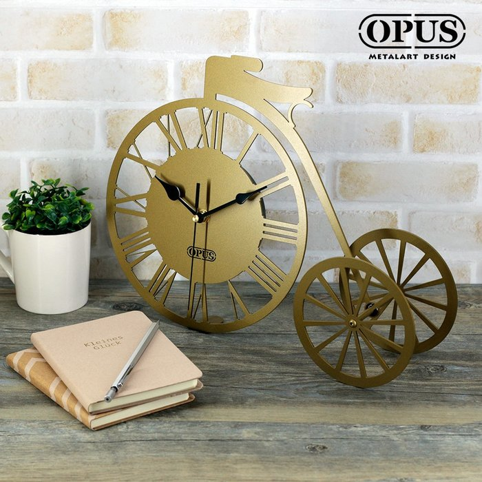 歐式鐵藝-童年時光《三輪車桌鐘》古銅金 桌上型時鐘 復古造型座鐘 太陽牌靜音機芯 辦公禮品【OPUS】CL-tr08G