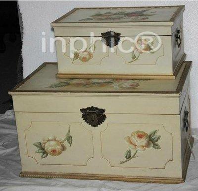 INPHIC-鄉村田園風格家居飾品復古木質彩繪工藝 儲物箱 2件套