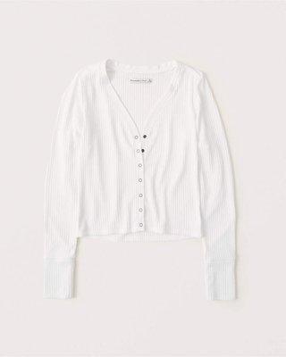 美國Abercrombie AF 女裝 Long-Sleeve Ribbed Sweater Top 黑S號釦釦上衣含運