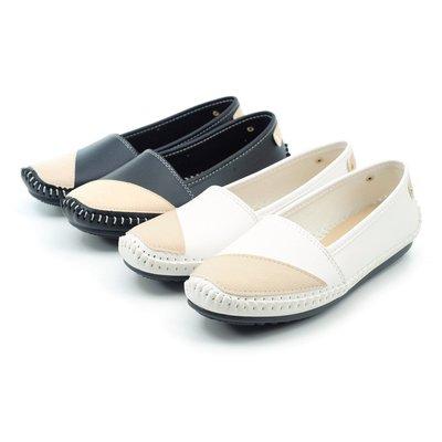 ❤含運❤ │鞋念 美人館│MIT雙色拼接全縫線平底包鞋-黑色/米色36-40碼【255-04】