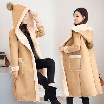 【日韓流行衣House】2019冬季新款英倫風羊羔毛外套顯瘦百搭連帽加絨加厚鹿皮絨大衣女