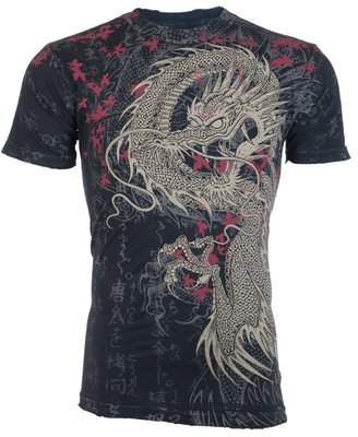 @50%OFF@ Xtreme Couture AFFLICTION T-SHIRT 破壞仿舊短T 蟠龍 含運