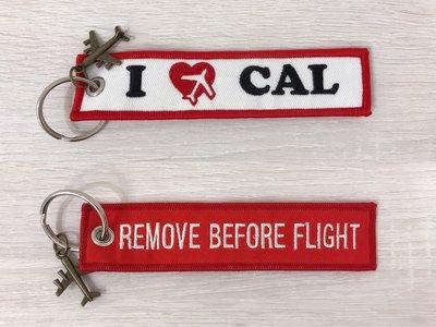 中華航空 CHINA AIRLINES 我愛華航 I LOVE CAL 飛行前拆除 飛機飄帶/ 鑰匙圈/ 吊飾 (紅色)