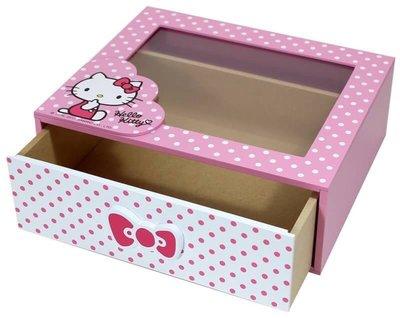 三麗鷗HELLO KITTY凱蒂貓圓點風收納盒 置物盒 飾品盒 桌上盒 小物盒 單抽盒 抽屜盒 透明盒