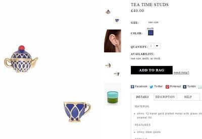 ╭☆包媽子店☆Kate Spade locket 琺瑯寶藍茶杯項鏈/耳釘((防過敏))