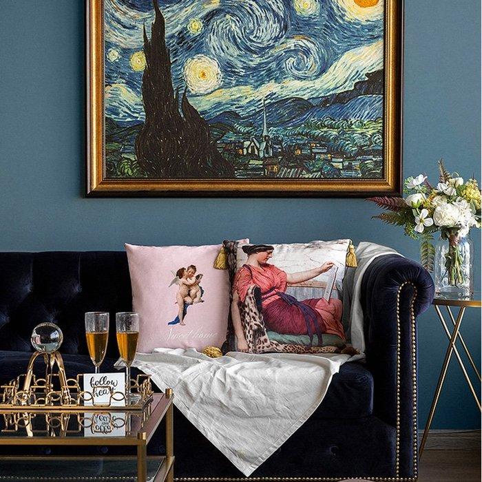 【Uluru】奢華大氣 絨布抱枕 靠枕 43x43cm 流蘇抱枕 枕芯 歐式宮庭復古油畫風格 多件優惠 設計師款